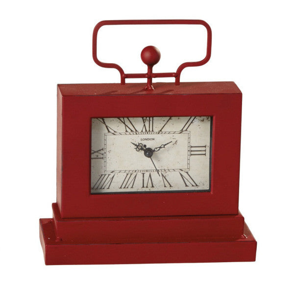 Distressed Red Desk Clock