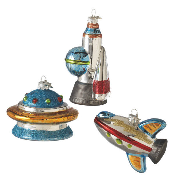 Glass Spaceship Ornaments