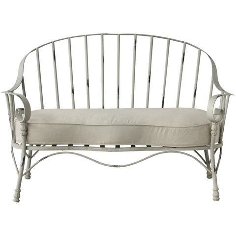 Outdoor 2-Seat Metal Settee  + Cushion