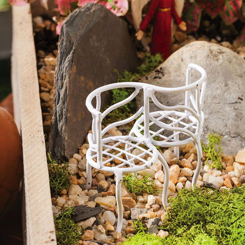 Fairy Garden Lovers Bench, White Twigs