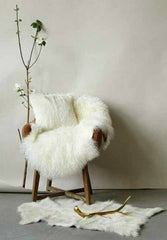 Sustainable Goat Fur Rug, White