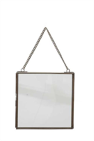 "6"" Square Brass + Glass Hanging Photo Frame"