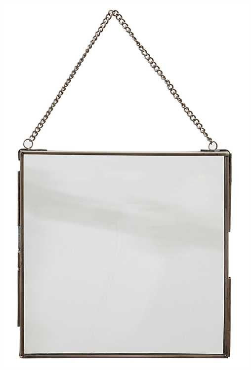 "7 3/4"" Square Brass + Glass Hanging Photo Frame"