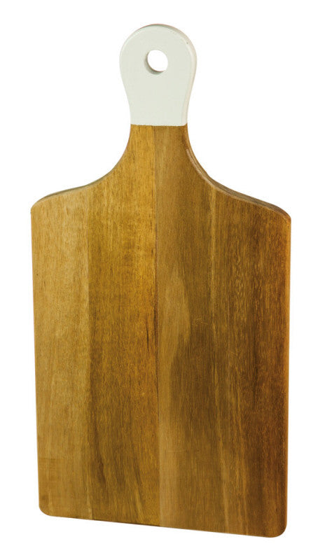 "Acacia Wood 16"" Cutting Board + White Color Dipped Handle"