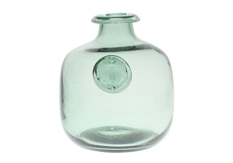 Anchor Stamped Glass Bottles - Smoke Green - Small