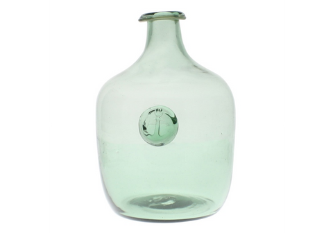 Anchor Stamped Glass Bottles - Smoke Green - Large