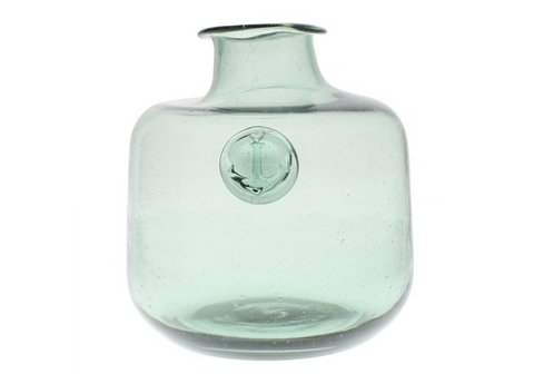 Anchor Stamped Glass Bottles - Smoke Green - Medium
