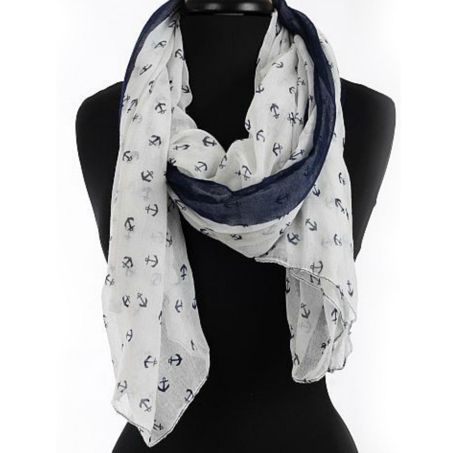 Anchors Aweigh White + Navy Scarf