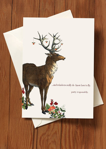 And Reindeers Really Do Know How To Fly • Holiday Greeting Card