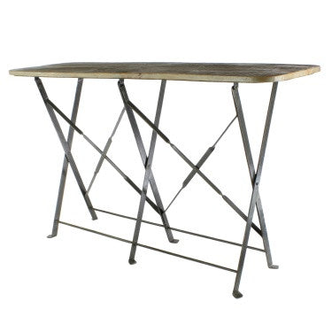 Bergen folding console table briarwood for Table console retractable
