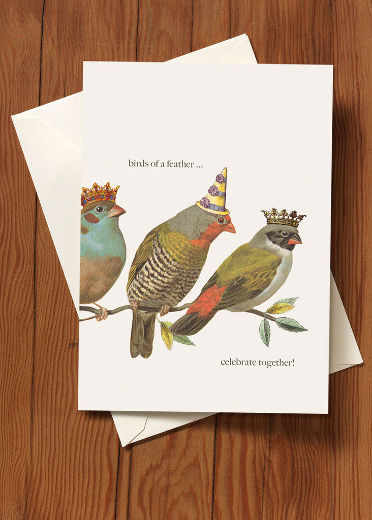 Birds of a Feather Greeting Card + Hand Glittered