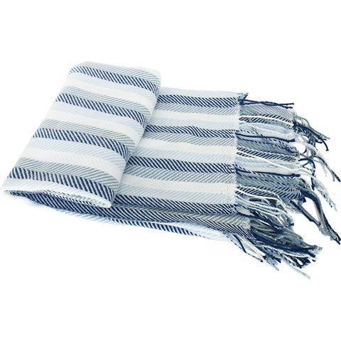 Blue Herringbone Fringed Throw