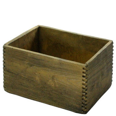 Box Joint Cement Crate - Large - Light Brown Wood