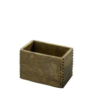 Box Joint Cement Crate - Small - Light Brown Wood