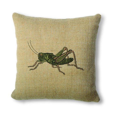 Burlap Pillow with Grasshopper