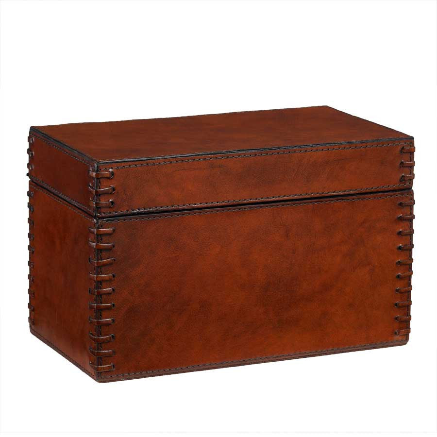 Copper Leather Box with Stitched Edges