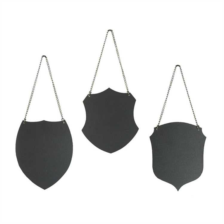 Crest Shaped Metal Chalkboard Tags + Chain, Set of 3