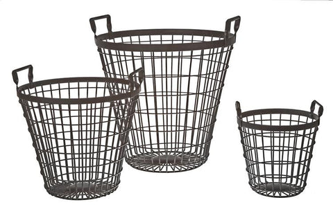 Metal Nesting Baskets, Set of 3