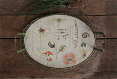 Decorative Wood + Wire Tray w/ Nature Scene  ©
