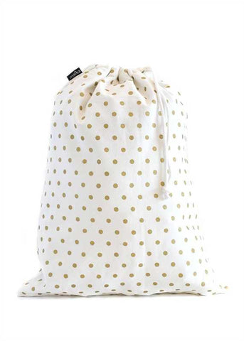 Drawstring Bag, Dots Gold