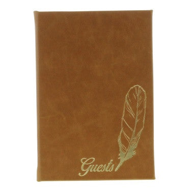 Embossed Guest Book - Camel
