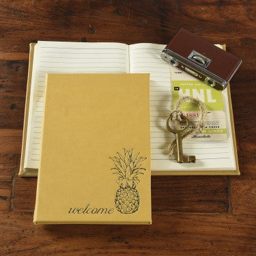 Embossed Guest Book - Welcome - Mustard
