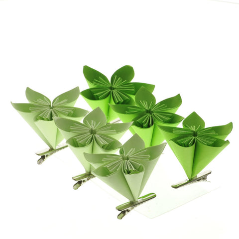 BOX OF 6-Folded Paper Flower Clips - Box of 6