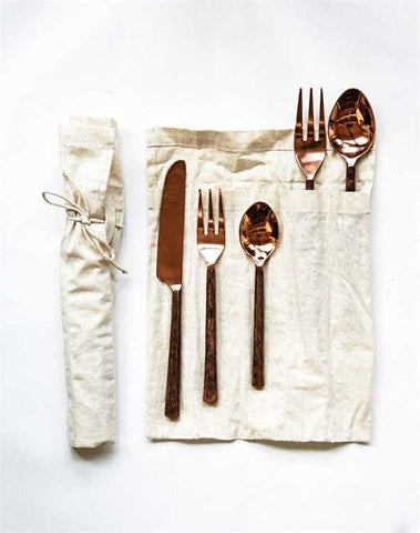 Hand-Forged Stainless Steel Flatware Place-Setting, Copper Finish