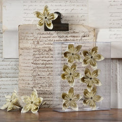 Folded Paper Flower on Clip - Box of 6 - Vintage Paper
