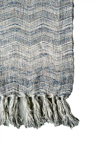 Cotton Throw with Chevron Print + Fringe, Natural/Blue