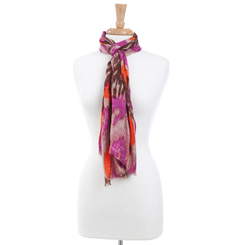 Fushia + Tan Patterned Viscose Scarf