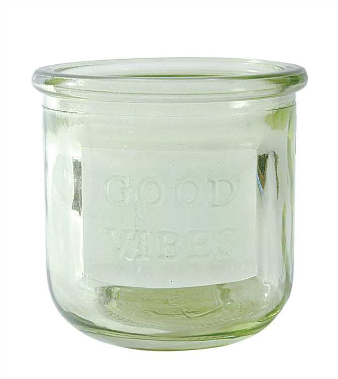 "Glass Votive Holder with ""GOOD VIBES"""