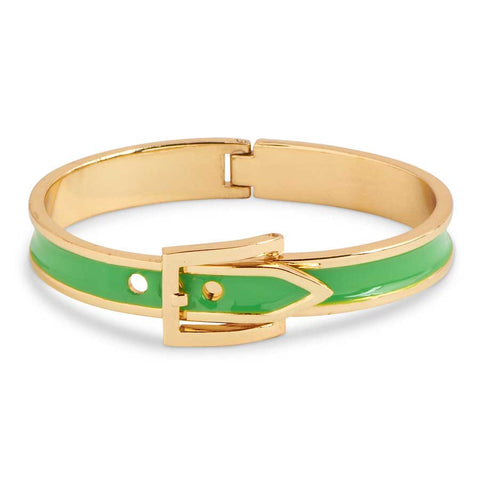Gold + Green Enamel Buckle Cuff Bracelet