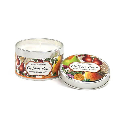 Golden Pear Travel Candle Tin