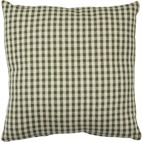 Green and Cream Gingham Pillow