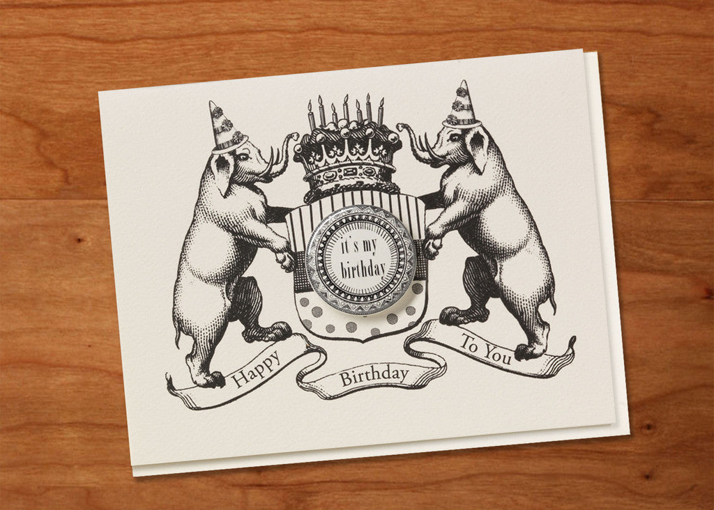 """Happy Birthday To You"" Heraldic Greeting Card + Glossy Pin Back Button"