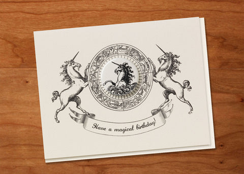 Have a Magical Birthday! Heraldic Greeting Card + Glossy Pin Back Button