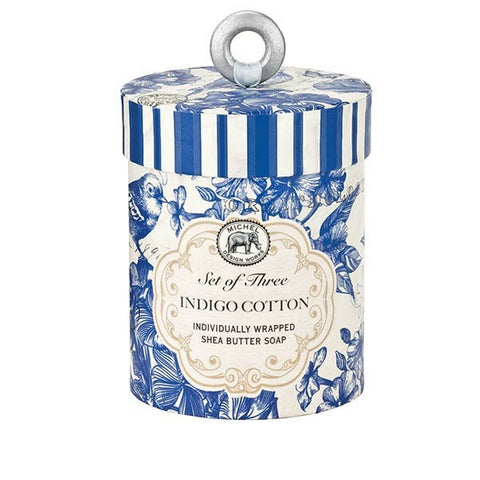 Indigo Cotton Triple Soap Set