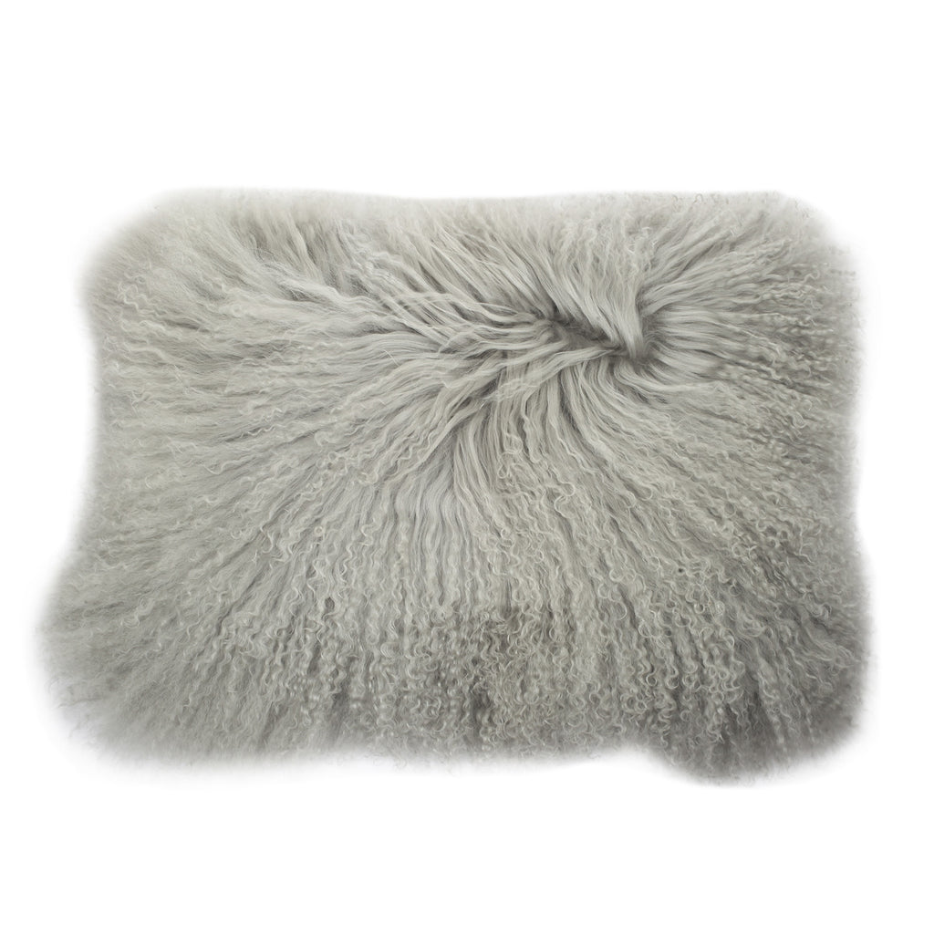 Lamb Fur Rectangular Pillow, Grey