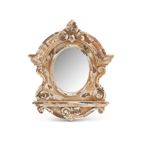 Large Cream Wood Framed Mirror
