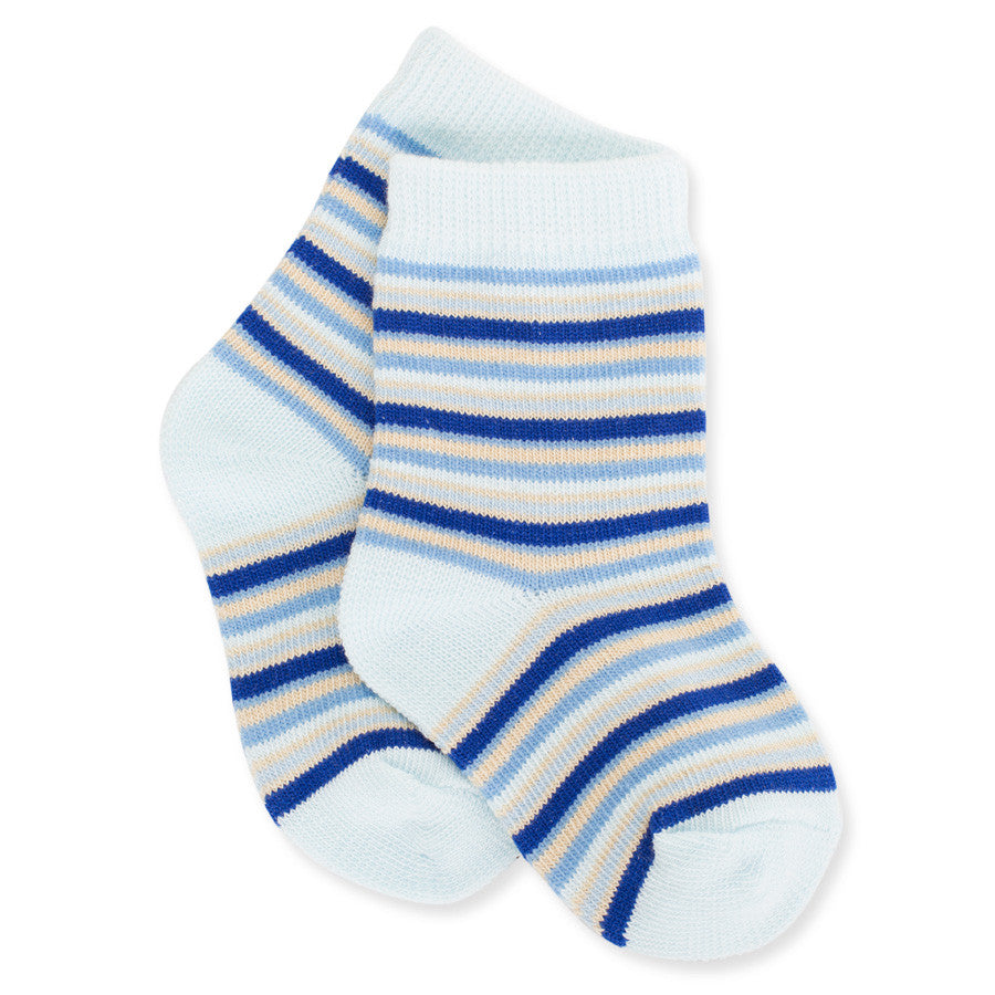 Light Blue + Navy + Cream Striped Socks