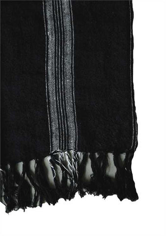 Linen Throw with Stripes + Fringe, Natural/Black
