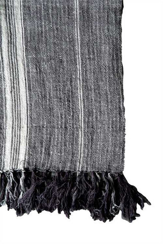 Linen Throw with Stripes + Fringe, Grey/Natural