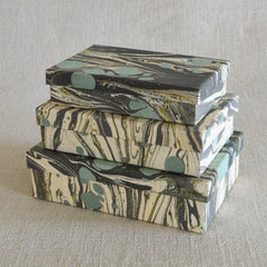 Marbleized Paper Nesting Boxes - Set of 3 - Aqua