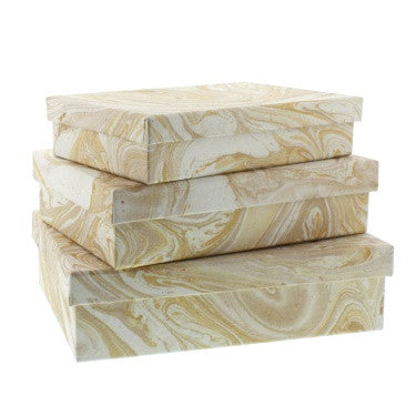 Marbleized Paper Nesting Boxes - Set of 3 - Gold
