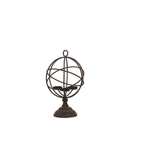 Metal Atlas Globe Triple Candleholder on Round Base