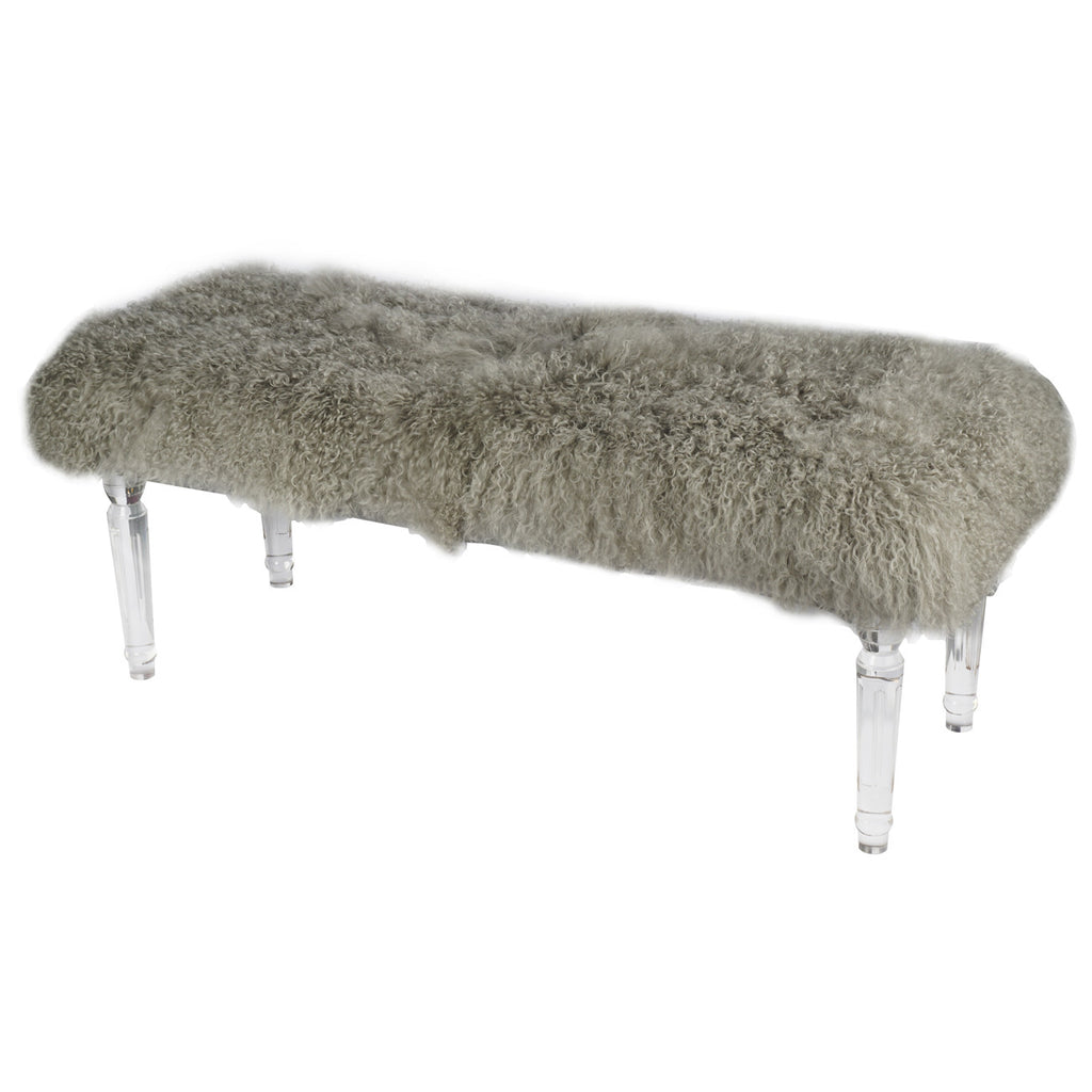 Durian Grey Sustainable Mongolian Fur + Acrylic Bench