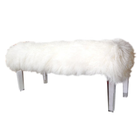 Durian White Sustainable Mongolian Fur + Acrylic Bench