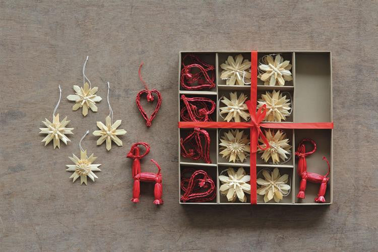 Assorted Straw Snowflake/Heart/Deer Ornaments