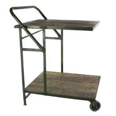 Ojai Iron Trolley - Antique Green with Distressed Wood